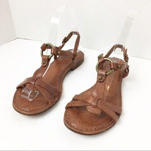 SZ 5.5 Frye Brown Leather O Ring Sandals